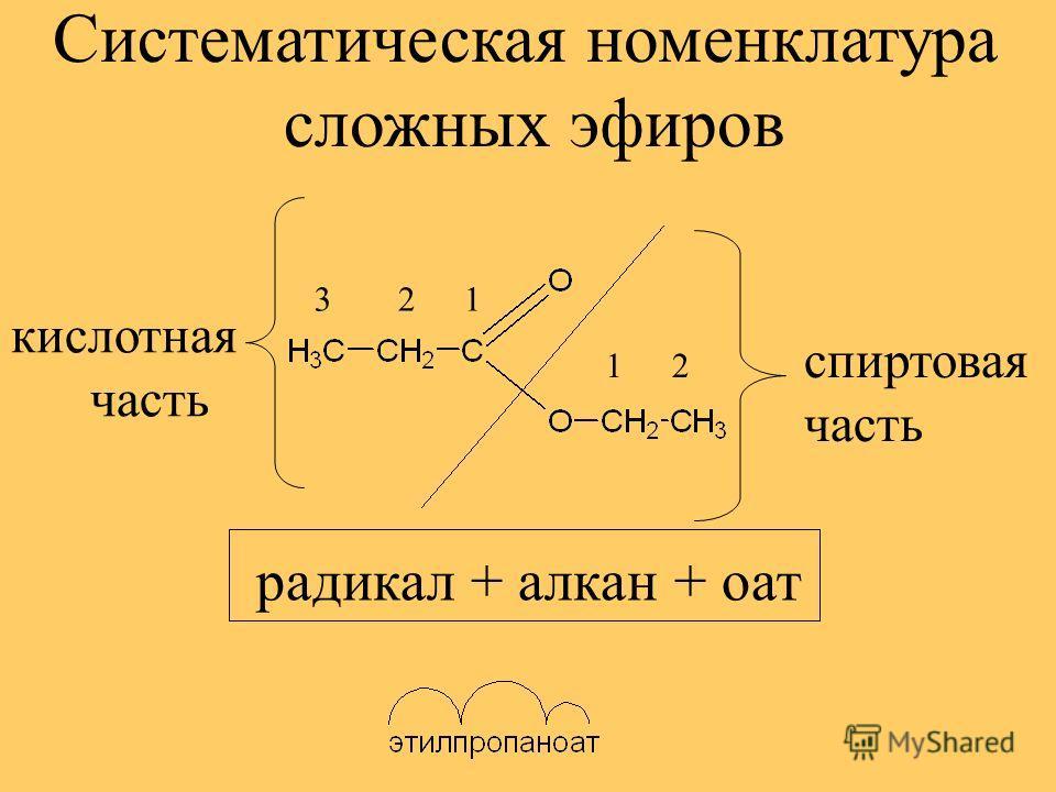 кислотная часть 12 1 23 спиртовая часть Систематическая номенклатура сложных эфиров радикал + алкан + оат