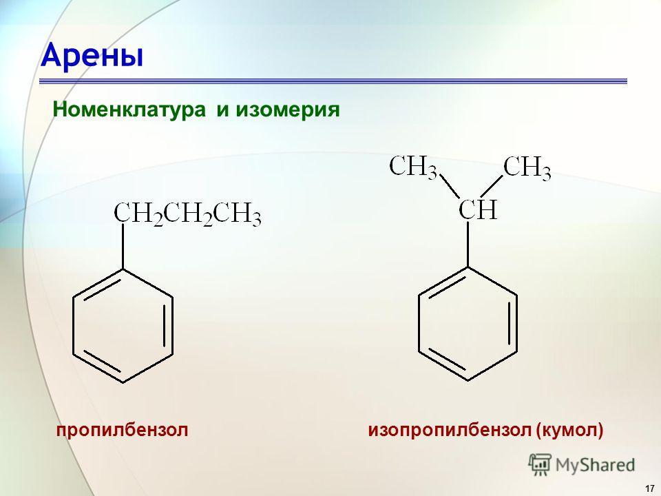 17 Арены Номенклатура и изомерия изопропилбензол (кумол)пропилбензол