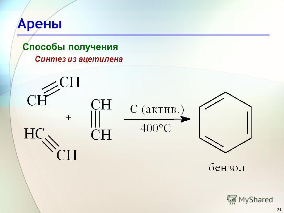 21 Арены Способы получения Синтез из ацетилена