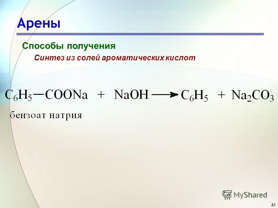 23 Арены Способы получения Синтез из солей ароматических кислот