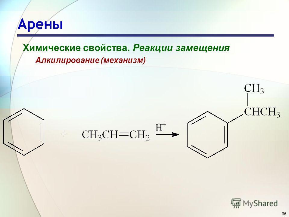 36 Арены Химические свойства. Реакции замещения Алкилирование (механизм)