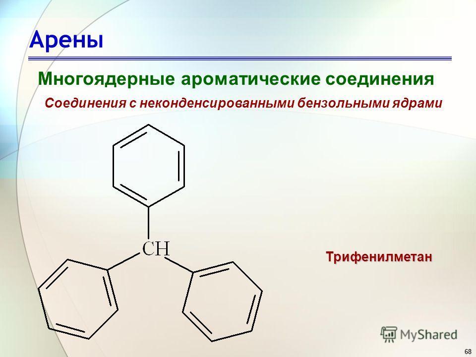 68 Арены Многоядерные ароматические соединения Соединения с неконденсированными бензольными ядрами Трифенилметан