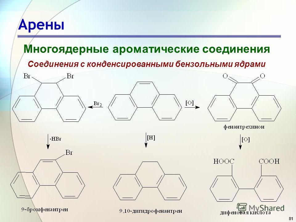 81 Арены Многоядерные ароматические соединения Соединения с конденсированными бензольными ядрами