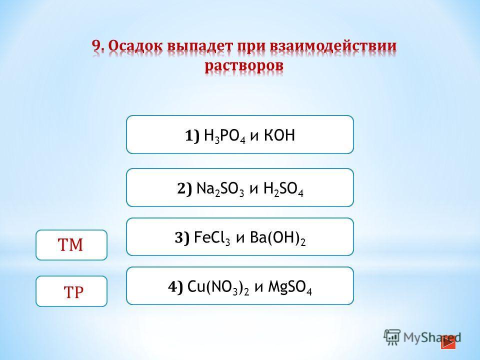 Верно Неверно 3) FeCl 3 и Ва(ОН) 2 1) Н 3 РO 4 и КОН Неверно 2) Na 2 SO 3 и H 2 SO 4 Неверно 4) Cu(NO 3 ) 2 и MgSO 4 ТМ ТР