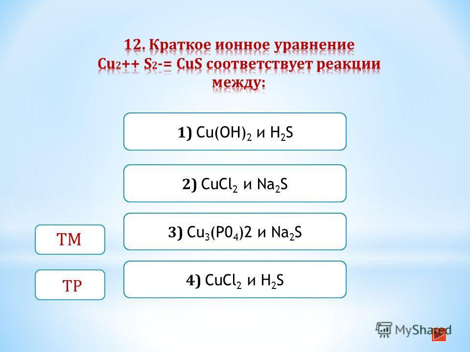 Неверно Верно Неверно 1) Сu(ОН) 2 и H 2 S 4) CuCl 2 и H 2 S Неверно 2) CuCl 2 и Na 2 S 3) Cu 3 (P0 4 )2 и Na 2 S ТМ ТР