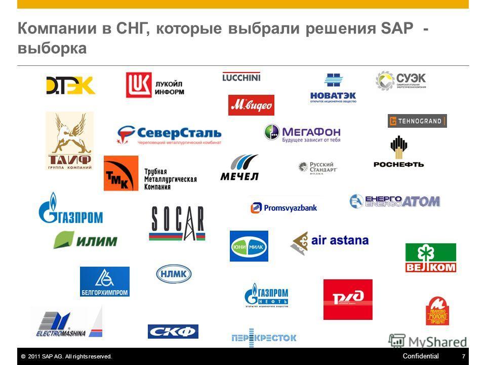 ©2011 SAP AG. All rights reserved.7 Confidential Компании в СНГ, которые выбрали решения SAP - выборка