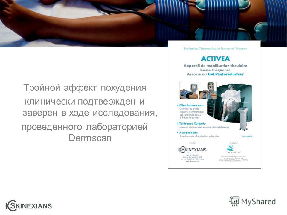 Тройной эффект похудения клинически подтвержден и заверен в ходе исследования, проведенного лабораторией Dermscan