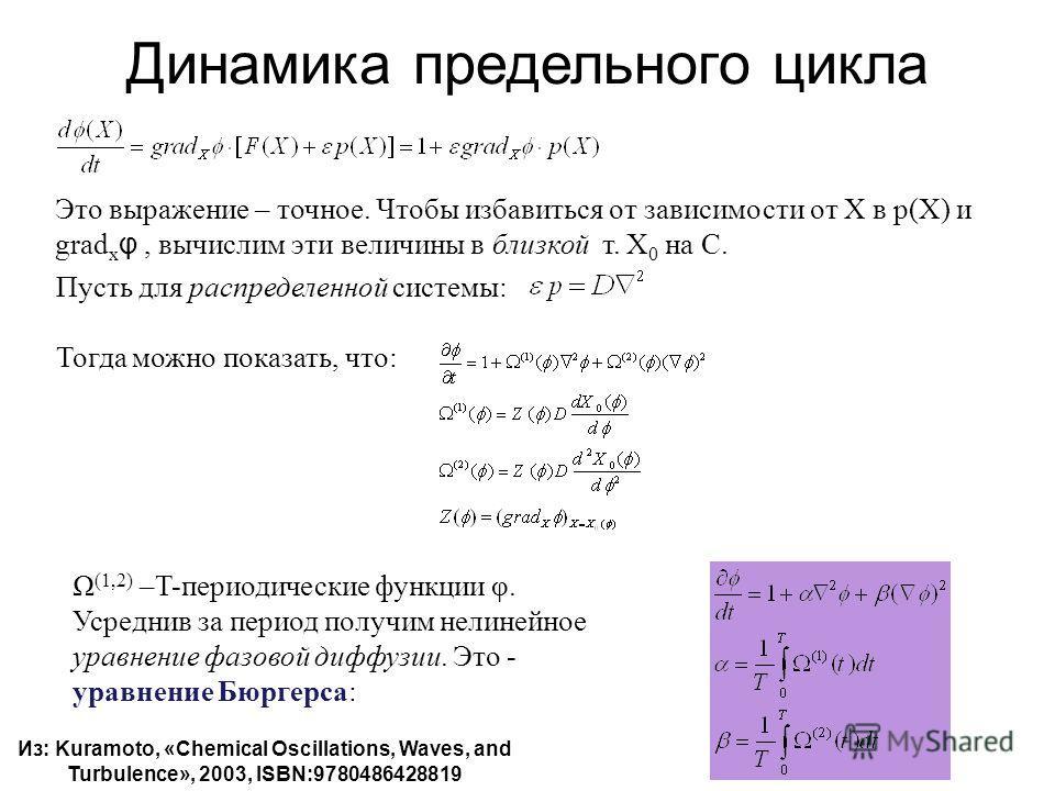 Динамика предельного цикла Это выражение – точное. Чтобы избавиться от зависимости от Х в p(X) и grad x φ, вычислим эти величины в близкой т. Х 0 на С. Пусть для распределенной системы: Тогда можно показать, что: Ω (1,2) –T-периодические функции φ. У