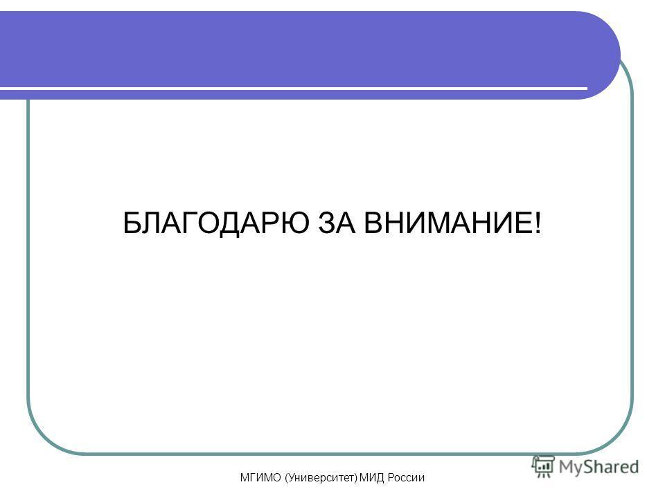 МГИМО (Университет) МИД России БЛАГОДАРЮ ЗА ВНИМАНИЕ!