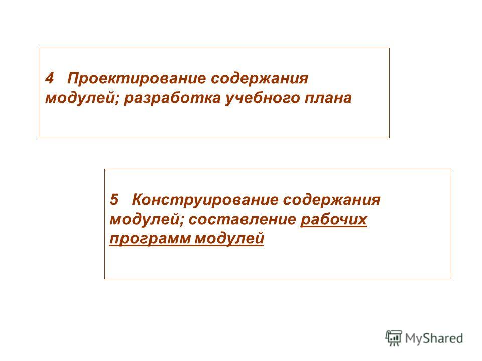 4 Проектирование содержания модулей; разработка учебного плана 5 Конструирование содержания модулей; составление рабочих программ модулей