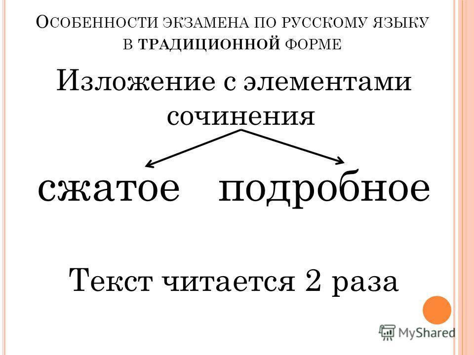 О СОБЕННОСТИ ЭКЗАМЕНА ПО РУССКОМУ ЯЗЫКУ В ТРАДИЦИОННОЙ ФОРМЕ Изложение с элементами сочинения сжатоеподробное Текст читается 2 раза
