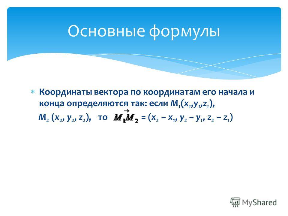 Координаты вектора по координатам его начала и конца определяются так: если М 1 (x 1,y 1,z 1 ), M 2 (x 2, y 2, z 2 ), то = (x 2 – x 1, y 2 – y 1, z 2 – z 1 ) Основные формулы