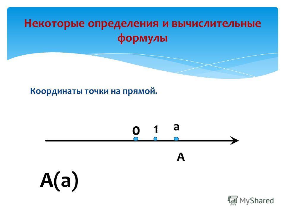 Координаты точки на прямой. Некоторые определения и вычислительные формулы А(а) 0 1 а А