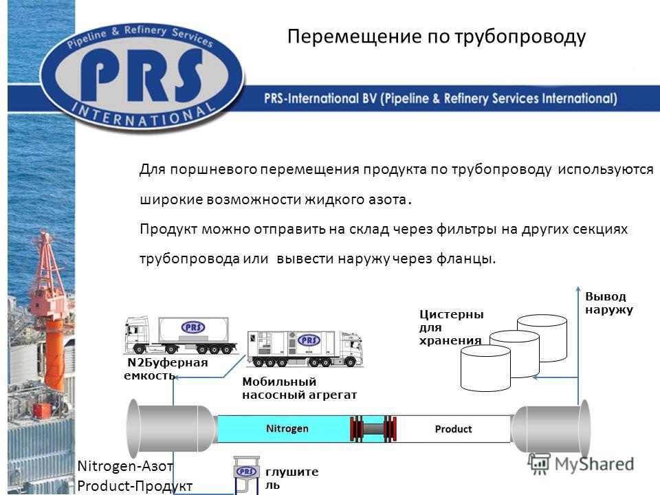 Для поршневого перемещения продукта по трубопроводу используются широкие возможности жидкого азота. Продукт можно отправить на склад через фильтры на других секциях трубопровода или вывести наружу через фланцы. Перемещение по трубопроводу Вывод наруж