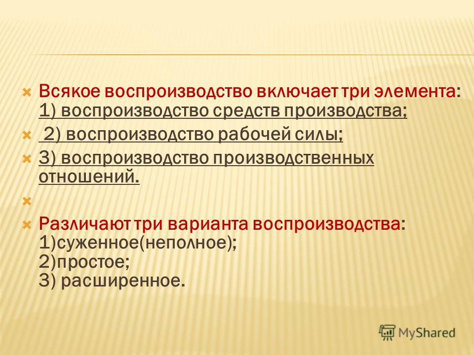 Всякое воспроизводство включает три элемента: 1) воспроизводство средств производства; 2) воспроизводство рабочей силы; 3) воспроизводство производственных отношений. Различают три варианта воспроизводства: 1)суженное(неполное); 2)простое; 3) расшире