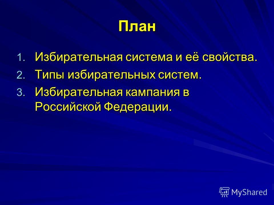 План 1. Избирательная система и её свойства. 2. Типы избирательных систем. 3. Избирательная кампания в Российской Федерации.