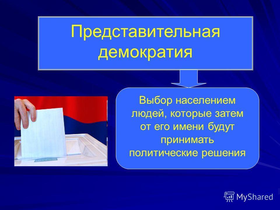 Представительная демократия Выбор населением людей, которые затем от его имени будут принимать политические решения