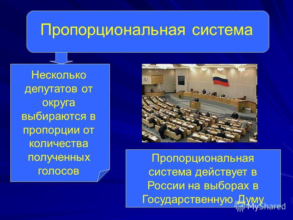 Пропорциональная система Несколько депутатов от округа выбираются в пропорции от количества полученных голосов Пропорциональная система действует в России на выборах в Государственную Думу