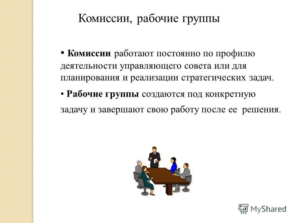 Комиссии, рабочие группы Комиссии работают постоянно по профилю деятельности управляющего совета или для планирования и реализации стратегических задач. Рабочие группы создаются под конкретную задачу и завершают свою работу после ее решения.
