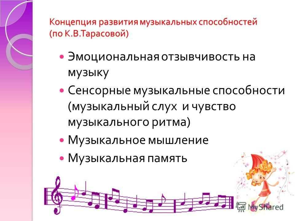 Концепция развития музыкальных способностей ( по К. В. Тарасовой ) Эмоциональная отзывчивость на музыку Сенсорные музыкальные способности ( музыкальный слух и чувство музыкального ритма ) Музыкальное мышление Музыкальная память
