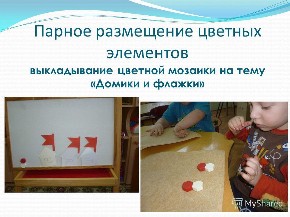 Парное размещение цветных элементов выкладывание цветной мозаики на тему «Домики и флажки»