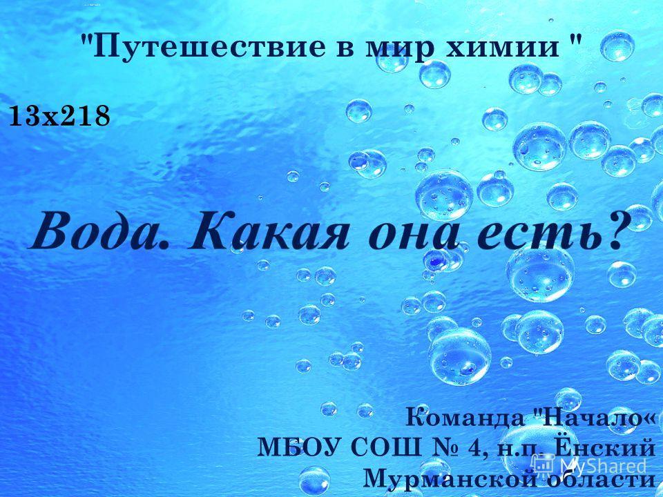 Команда Начало« МБОУ СОШ 4, н.п. Ёнский Мурманской области 13x218 Путешествие в мир химии