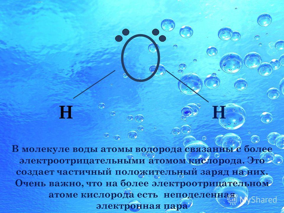НН В молекуле воды атомы водорода связанны с более электроотрицательными атомом кислорода. Это создает частичный положительный заряд на них. Очень важно, что на более электроотрицательном атоме кислорода есть неподеленная электронная пара