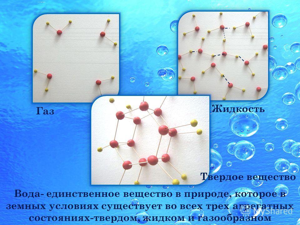 Вода- единственное вещество в природе, которое в земных условиях существует во всех трех агрегатных состояниях-твердом, жидком и газообразном Газ Жидкость Твердое вещество