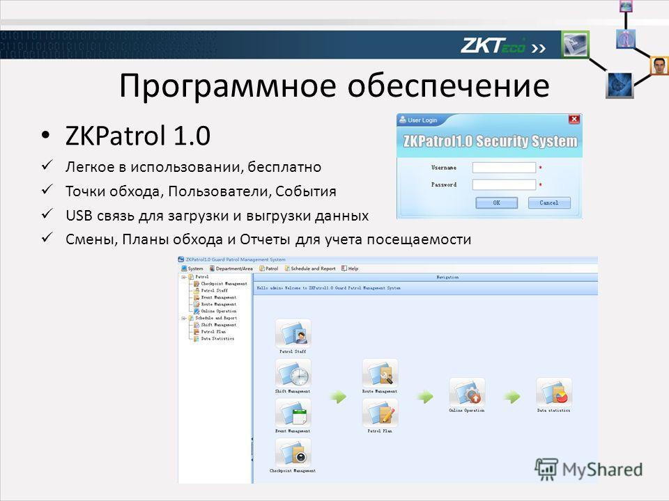 Программное обеспечение ZKPatrol 1.0 Легкое в использовании, бесплатно Точки обхода, Пользователи, События USB связь для загрузки и выгрузки данных Смены, Планы обхода и Отчеты для учета посещаемости