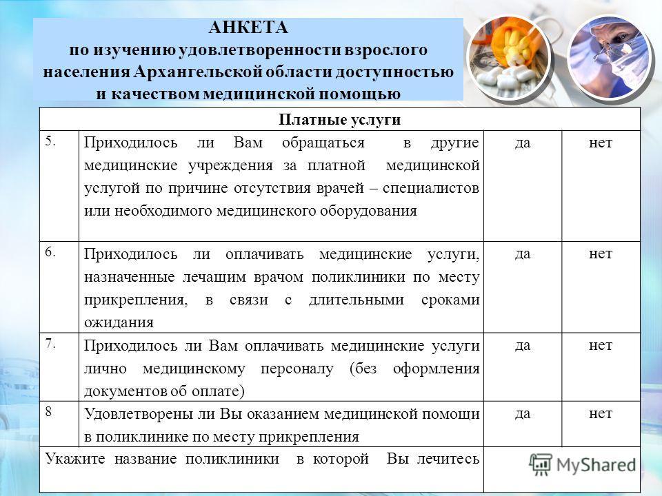 АНКЕТА по изучению удовлетворенности взрослого населения Архангельской области доступностью и качеством медицинской помощью 11 Платные услуги 5. Приходилось ли Вам обращаться в другие медицинские учреждения за платной медицинской услугой по причине о