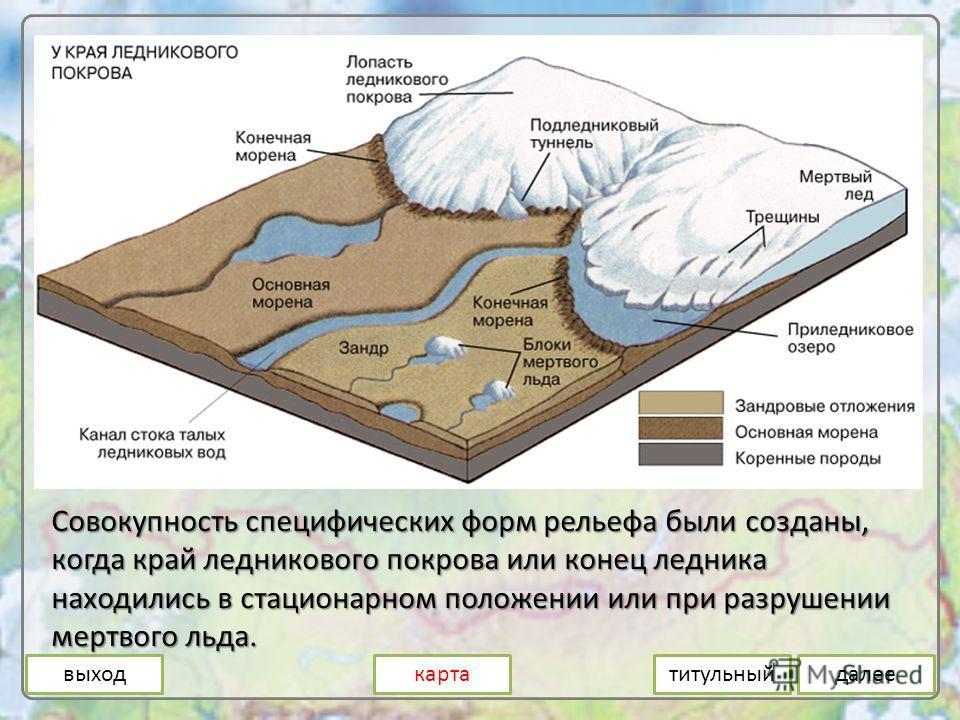 Совокупность специфических форм рельефа были созданы, когда край ледникового покрова или конец ледника находились в стационарном положении или при разрушении мертвого льда. выходкартадалеетитульный