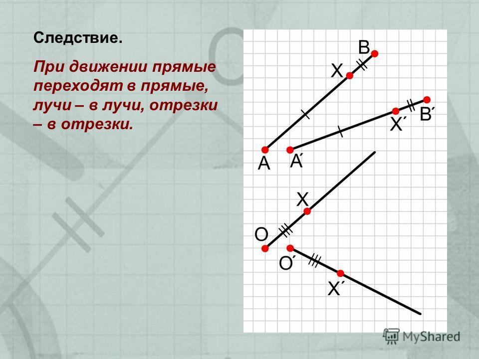 Следствие. При движении прямые переходят в прямые, лучи – в лучи, отрезки – в отрезки.