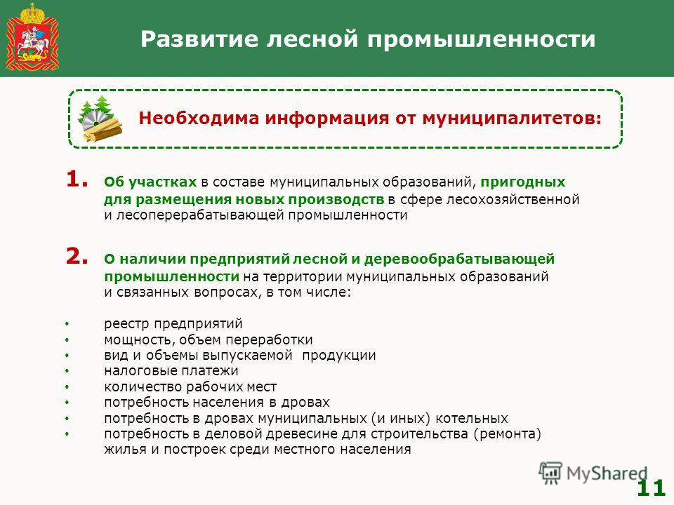 Развитие лесной промышленности 11 Необходима информация от муниципалитетов: 2. О наличии предприятий лесной и деревообрабатывающей промышленности на территории муниципальных образований и связанных вопросах, в том числе: реестр предприятий мощность,