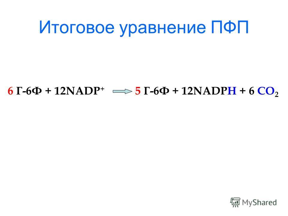 Итоговое уравнение ПФП 6 Г-6Ф + 12NADP + 5 Г-6Ф + 12NADPH + 6 CO 2