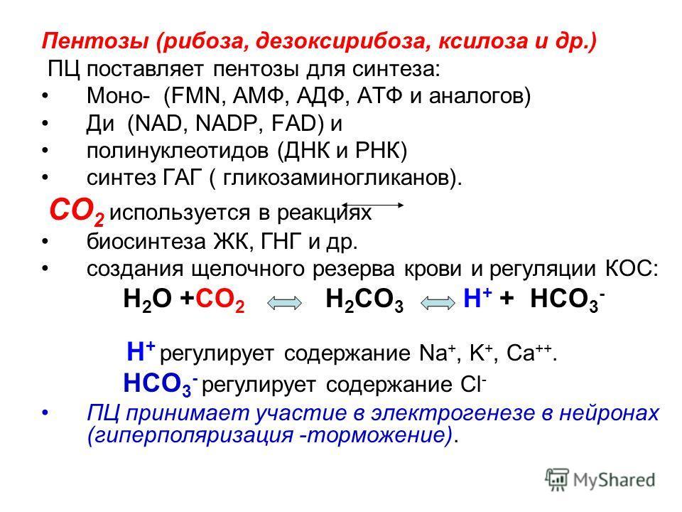 Пентозы (рибоза, дезоксирибоза, ксилоза и др.) ПЦ поставляет пентозы для синтеза: Моно- (FMN, АМФ, АДФ, АТФ и аналогов) Ди (NAD, NADP, FAD) и полинуклеотидов (ДНК и РНК) синтез ГАГ ( гликозаминогликанов). СО 2 используется в реакциях биосинтеза ЖК, Г