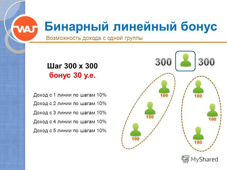 Бинарный линейный бонус Возможность дохода с одной группы Шаг 300 x 300 бонус 30 у.е. Доход с 1 линии по шагам 10% Доход с 2 линии по шагам 10% Доход с 3 линии по шагам 10% Доход с 4 линии по шагам 10% Доход с 5 линии по шагам 10%