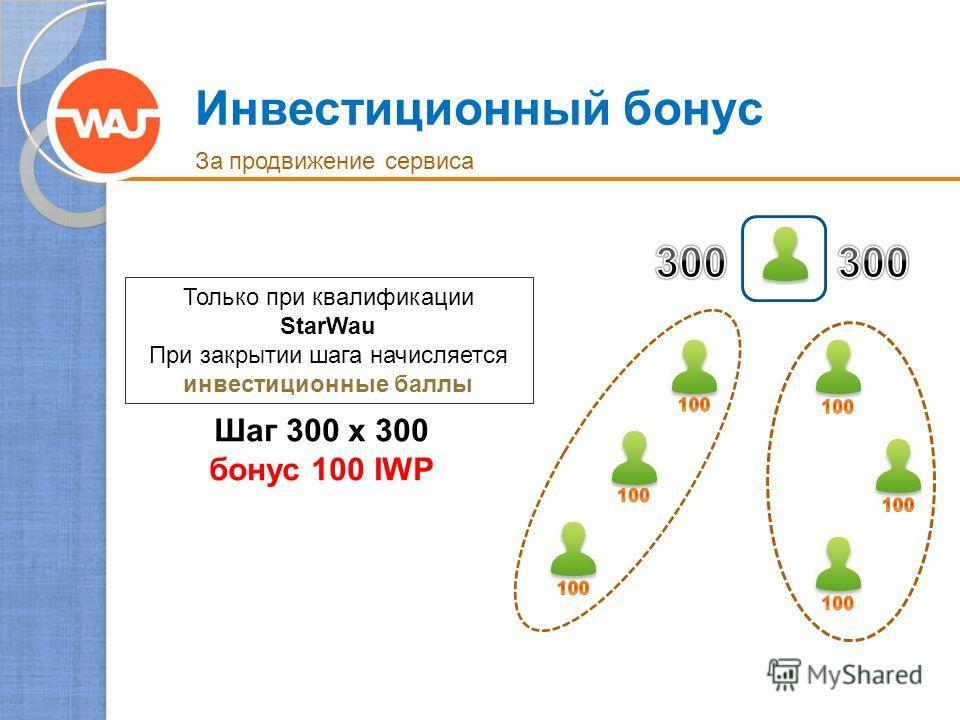 Инвестиционный бонус За продвижение сервиса Шаг 300 x 300 бонус 100 IWP Только при квалификации StarWau При закрытии шага начисляется инвестиционные баллы