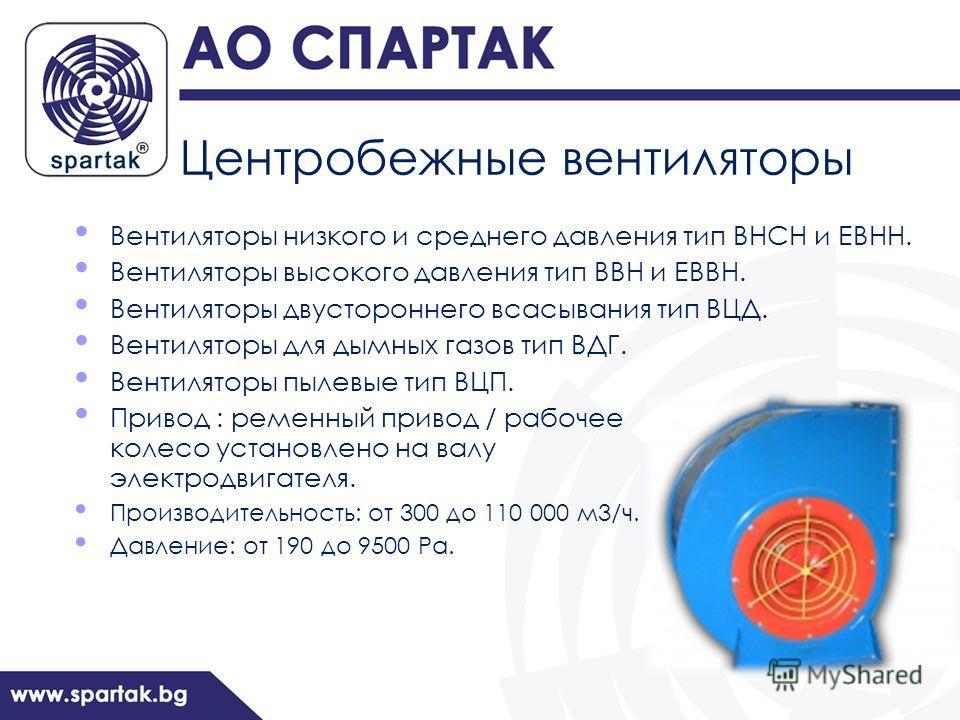 Центробежные вентиляторы Вентиляторы низкого и среднего давления тип ВНСН и ЕВНН. Вентиляторы высокого давления тип ВВН и ЕВВН. Вентиляторы двустороннего всасывания тип ВЦД. Вентиляторы для дымных газов тип ВДГ. Вентиляторы пылевые тип ВЦП. Привод :