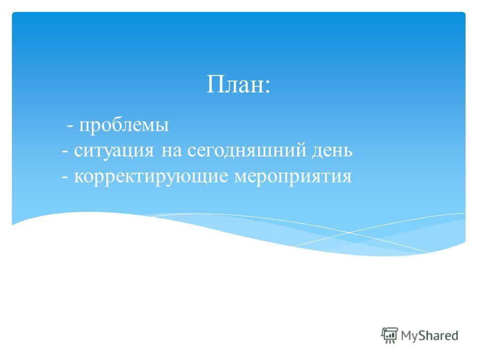 - проблемы - ситуация на сегодняшний день - корректирующие мероприятия План: