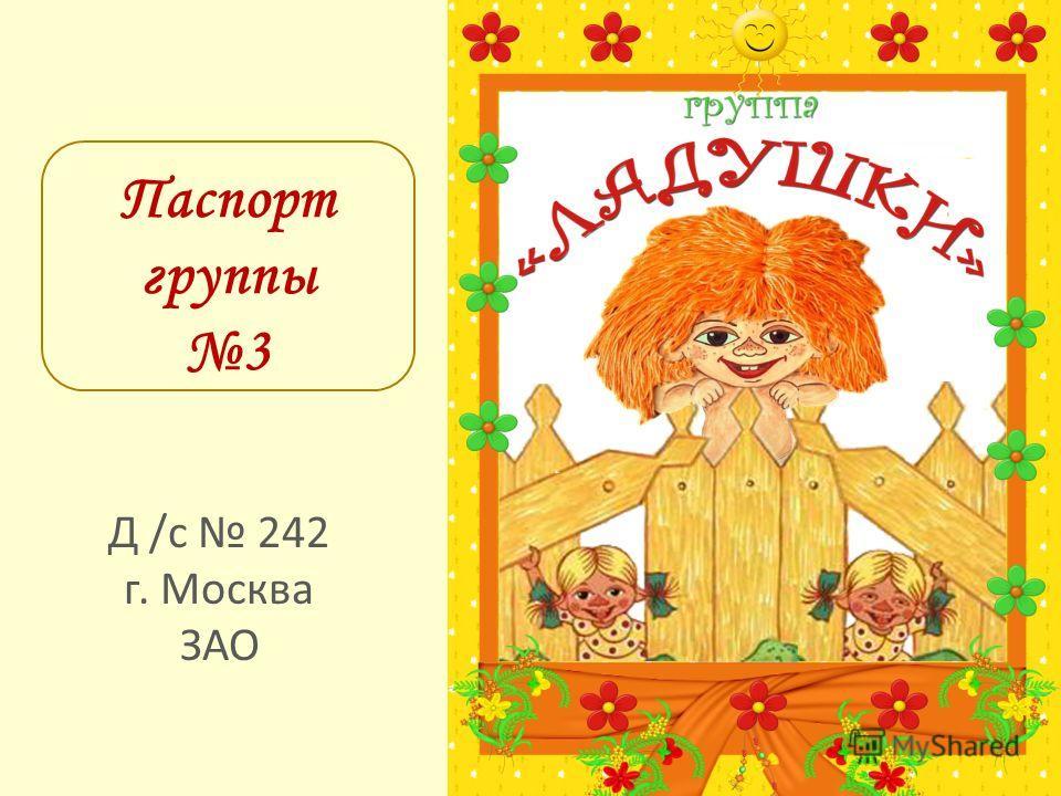 Паспорт группы 3 Д /с 242 г. Москва ЗАО