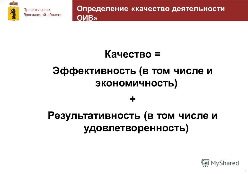 Правительство Ярославской области Определение «качество деятельности ОИВ» Качество = Эффективность (в том числе и экономичность) + Результативность (в том числе и удовлетворенность) 5