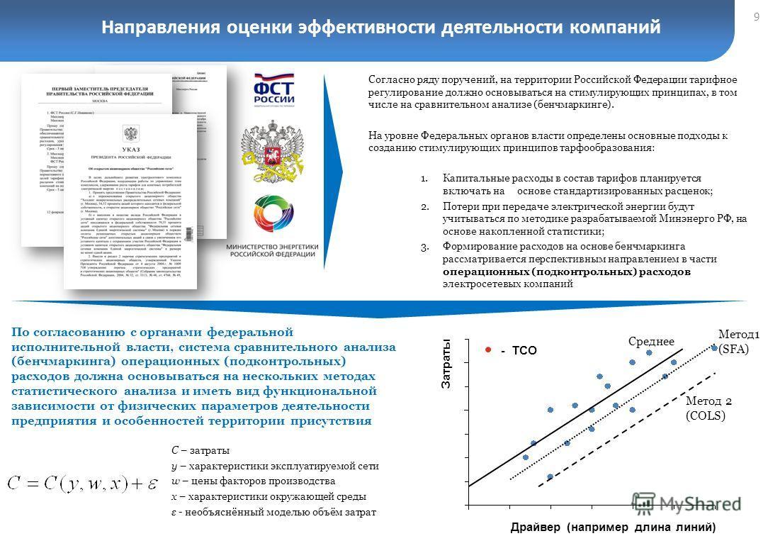 Направления оценки эффективности деятельности компаний 9 По согласованию с органами федеральной исполнительной власти, система сравнительного анализа (бенчмаркинга) операционных (подконтрольных) расходов должна основываться на нескольких методах стат