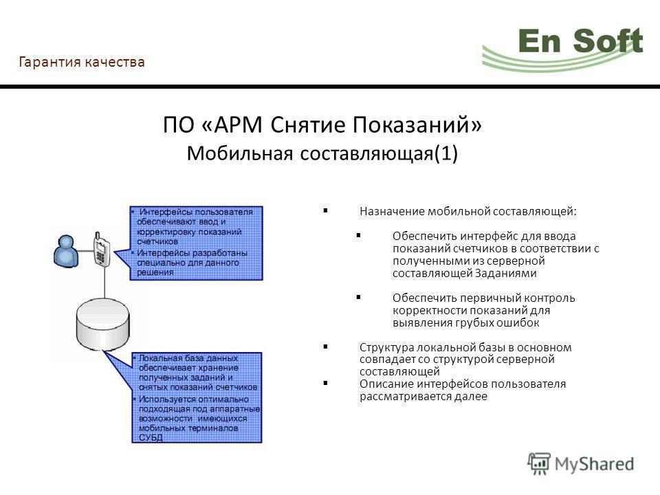 Гарантия качества ПО «АРМ Снятие Показаний» Мобильная составляющая(1) Назначение мобильной составляющей: Обеспечить интерфейс для ввода показаний счетчиков в соответствии с полученными из серверной составляющей Заданиями Обеспечить первичный контроль