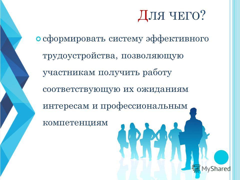Д ЛЯ ЧЕГО ? сформировать систему эффективного трудоустройства, позволяющую участникам получить работу соответствующую их ожиданиям интересам и профессиональным компетенциям