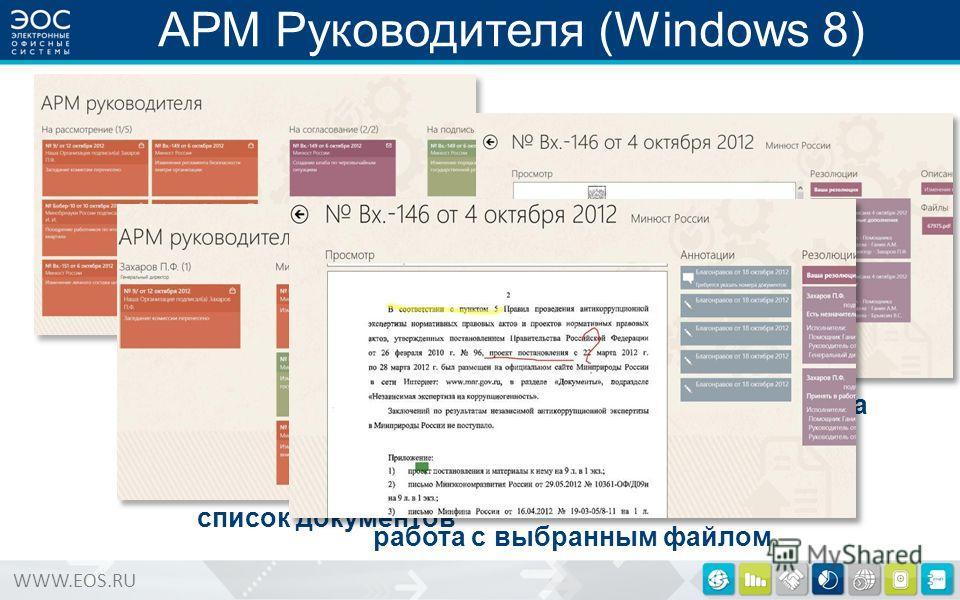 WWW.EOS.RU АРМ Руководителя (Windows 8) список папок список документов просмотр документа работа с выбранным файлом