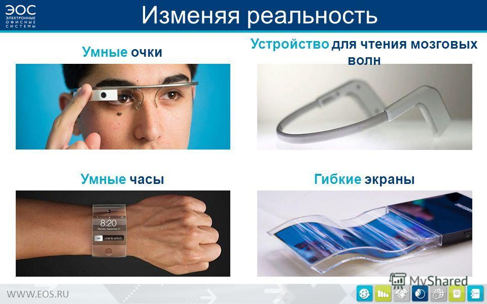 WWW.EOS.RU Изменяя реальность Умные очки Умные часы Устройство для чтения мозговых волн Гибкие экраны