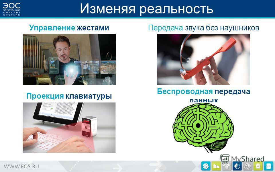 WWW.EOS.RU Изменяя реальность Управление жестами Проекция клавиатуры Передача звука без наушников Беспроводная передача данных