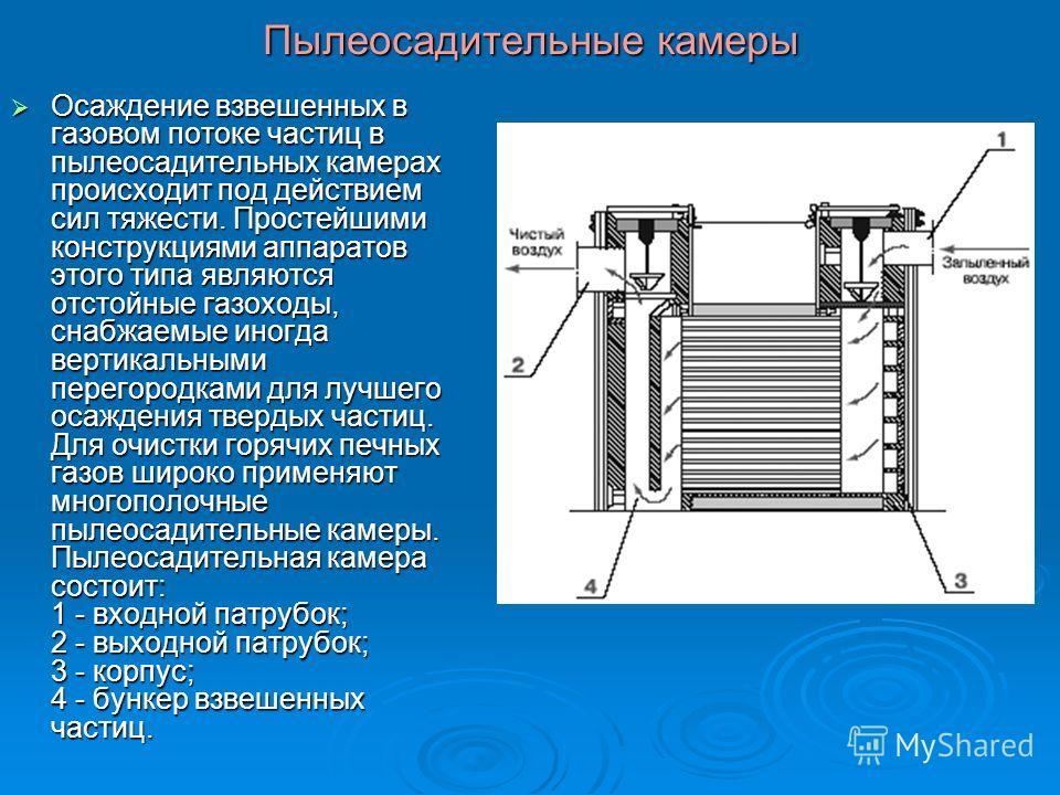 Пылеосадительные камеры Осаждение взвешенных в газовом потоке частиц в пылеосадительных камерах происходит под действием сил тяжести. Простейшими конструкциями аппаратов этого типа являются отстойные газоходы, снабжаемые иногда вертикальными перегоро