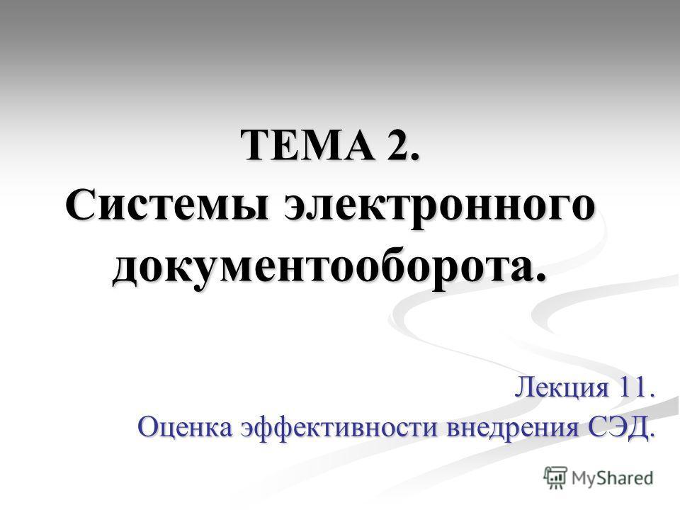 ТЕМА 2. С истемы электронного документооборота. Лекция 11. Оценка эффективности внедрения СЭД.