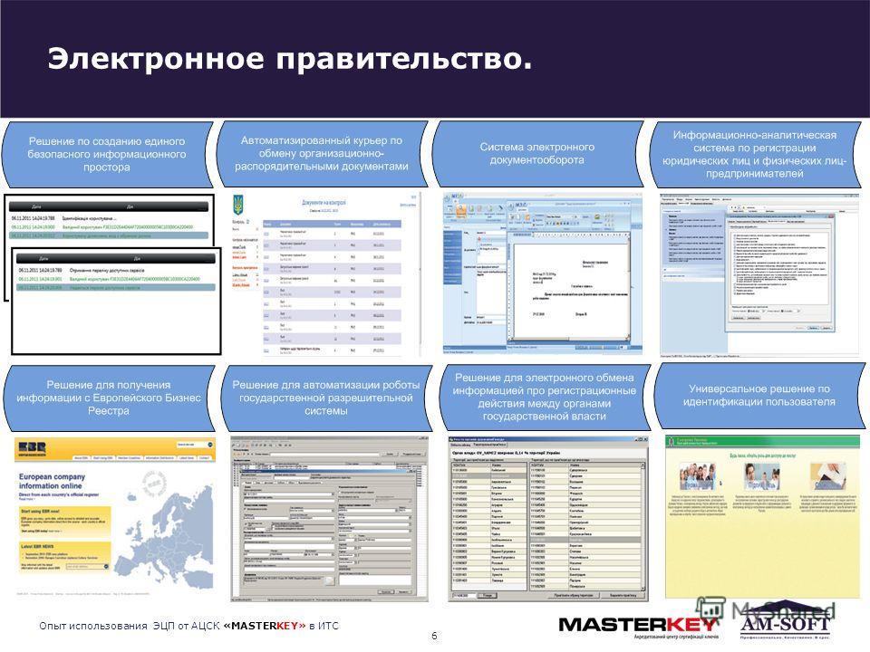 Электронное правительство. 6 Опыт использования ЭЦП от АЦСК «MASTERKEY» в ИТС